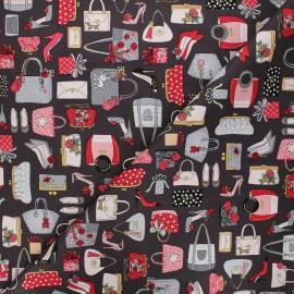 Makower UK cotton fabric - dark grey Pamper handbags x 10cm