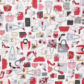 Makower UK cotton fabric - white Pamper handbags x 10cm