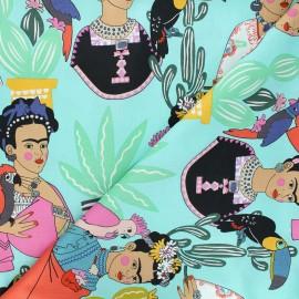 Alexander Henry cotton fabric - aqua Frida con Las Plumas x 10 cm