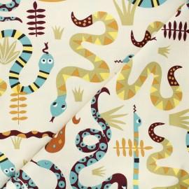 Alexander Henry cotton fabric - cream Snake rattle & roll x 10 cm