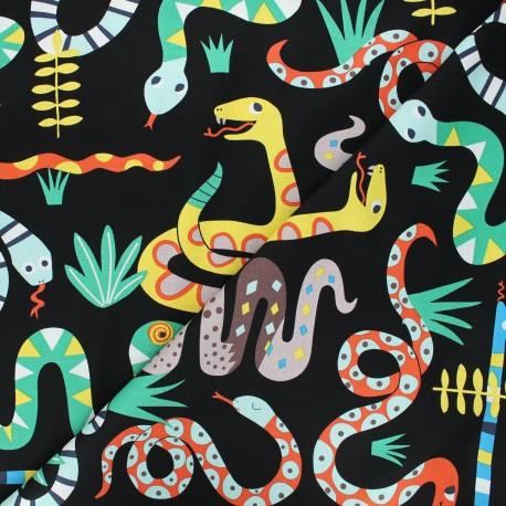 Tissu coton Alexander Henry Snake rattle & roll - noir x 10cm