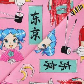 Tissu coton Alexander Henry Tokyo dream - rose x 10cm