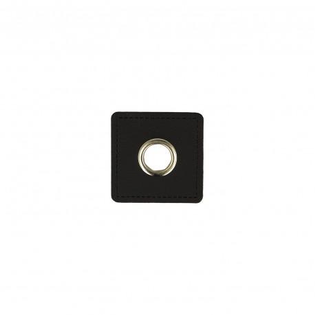 8 mm Faux leather metal Eyelet  - black