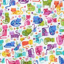 Tissu coton Makower UK Katie's cats allover - blanc x 10cm