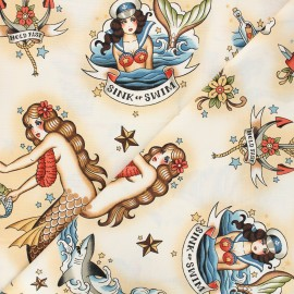 Alexander Henry cotton fabric - beige Forget me not x 10 cm