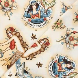 Tissu coton Alexander Henry Forget me not - beige x 10cm