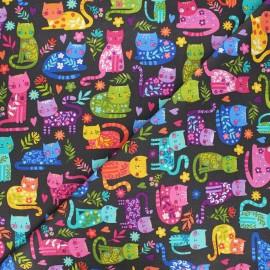 Tissu coton Makower UK Katie's cats allover - noir x 10cm
