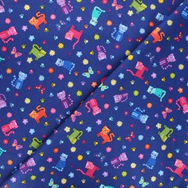 Makower UK cotton fabric - navy blue Katie's cats scattered x 10cm
