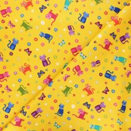 Tissu coton Makower UK Katie's cats scattered - jaune moutarde x 10cm