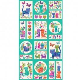 Tissu panneau coton Makower UK Katie's cats - bleu x 60cm