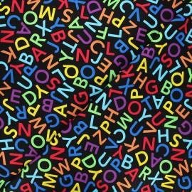 Timeless Treasures cotton fabric - black Alphabet dance x 10cm