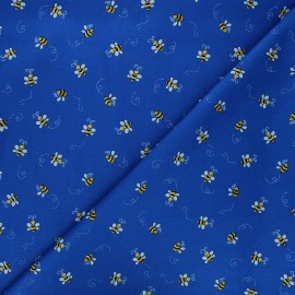 Makower UK cotton fabric - navy blue Bumble bee x 10cm