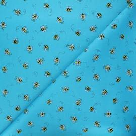 Andover Fabrics cotton fabric - light blue Bumble bee x 10cm