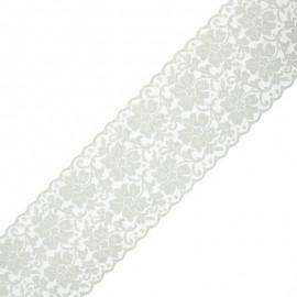 Ruban dentelle élastique Chiara 10 cm - gris x 1m
