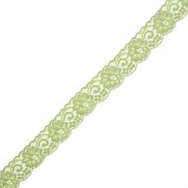 Ruban dentelle élastique Pizzie 30 mm - vert x 1m
