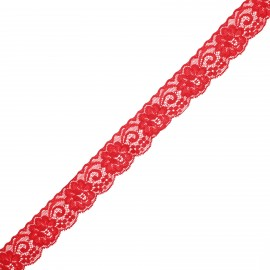 30 mm elastic lace ribbon - red Pizzie x 1m