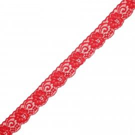 Ruban dentelle élastique Pizzie 30 mm - rouge x 1m