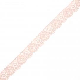 Ruban dentelle élastique Pizzie 30 mm - rose pâle x 1m