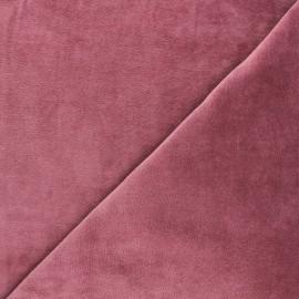 Tissu jersey velours éponge - bois de rose x 10cm