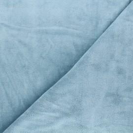 Tissu jersey velours éponge - bleu clair x 10cm