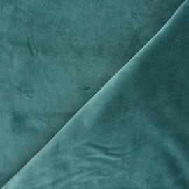 Tissu jersey velours éponge - sarcelle x 10cm