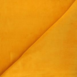 Tissu jersey velours éponge - jaune soleil x 10cm
