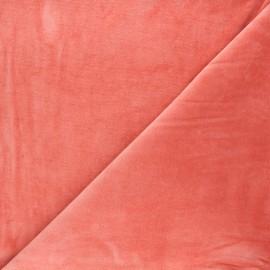 Tissu jersey velours éponge - corail x 10cm