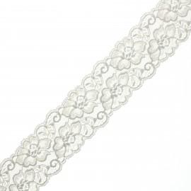 60 mm elastic lace ribbon - grey Eriya x 1m