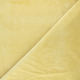 Tissu jersey velours éponge - jaune paille x 10cm