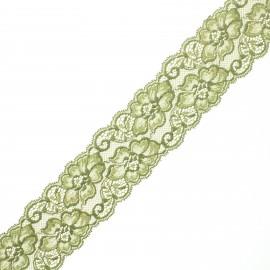 Ruban dentelle élastique Eriya 60 mm - vert x 1m