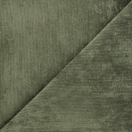 Tissu velours côtelé washé Jules - kaki x 10cm
