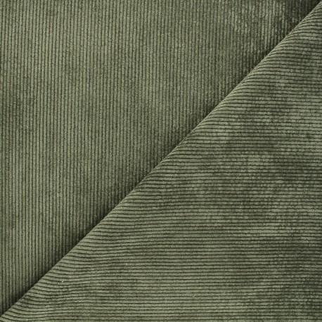 Washed ribbed velvet fabric - khaki Jules x 10cm