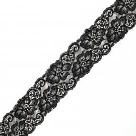 Ruban dentelle élastique Eriya 60 mm - noir x 1m