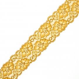 Ruban dentelle élastique Eriya 60 mm - jaune moutarde x 1m