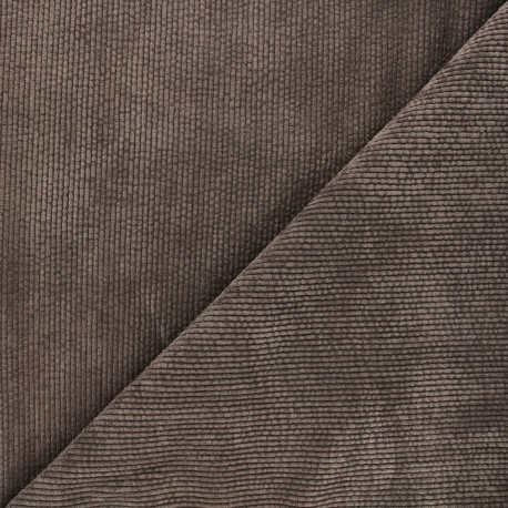 Washed ribbed velvet fabric - brown Jules x 10cm