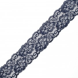 60 mm elastic lace ribbon - navy blue Eriya x 1m