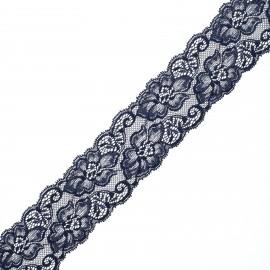 Ruban dentelle élastique Eriya 60 mm - bleu marine x 1m