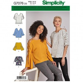 Top with lace-up sleeves sewing Pattern for Woman - Simplicity n°8694
