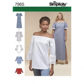 Off shoulder dress sewing Pattern for Woman - Simplicity n°8296