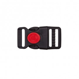 Side release buckle with center lock - black and red