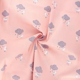 Tissu popeline de coton Birds in the rain - rose x 10cm