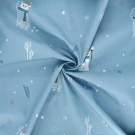 Poplin cotton fabric - blue Yeti & snowman x 10cm