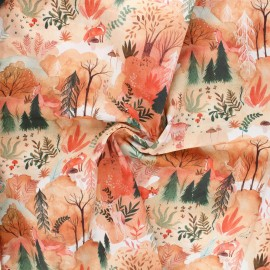 Tissu popeline de coton Autumn forest - blanc x 10cm