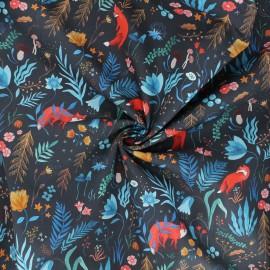 Tissu popeline de coton Dark forest - noir x 10cm
