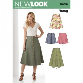 Buttoned Skirt Sewing Pattern for Woman - New Look 6346