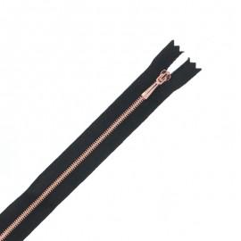 Non separable satin copper metal zipper - black