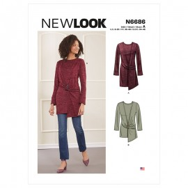 Asymmetric Knit Top Sewing Pattern for Woman - New Look 6686