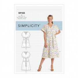Belted dress sewing Pattern for Woman - Simplicity n°S9103