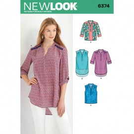Slit Collar Tunic Sewing Pattern for Woman - New Look 6374