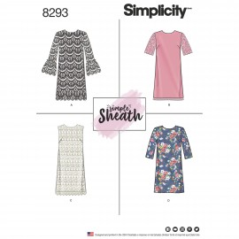 Straight collar dress sewing Pattern for Woman - Simplicity n°8293